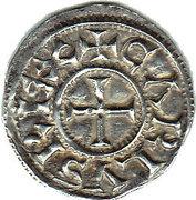 Denier - Charles III le Simple - Légende chrétienne – avers