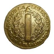 """2 sols dit """"au faisceau"""" (type François - Louis XVI, constitution) -  avers"""