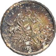 5 francs Semeuse (Argent) -  revers