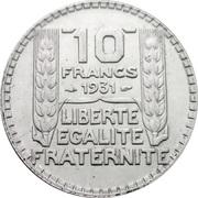 10 francs Turin (Argent) -  revers