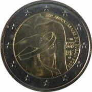 2 euros Ruban rose (non colorée) -  avers