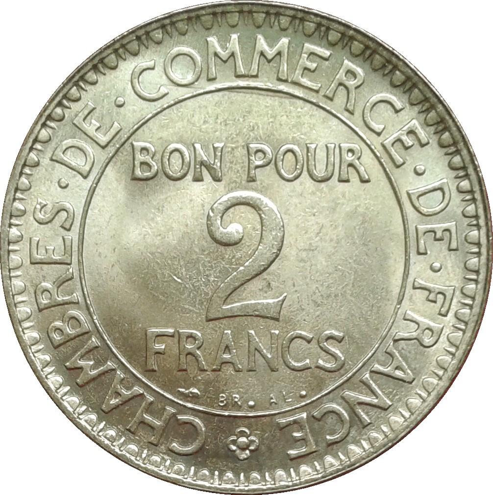 piece de monnaie bon pour 2 francs 1922