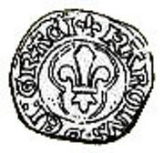 """Denier coronat de Marseille - Charles VIII dit """"l'Affable"""" – avers"""