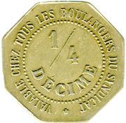 ¼ Décime - Chambre Syndicale des Patrons Boulangers - Nantes[44] -  avers
