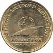 Official Licensed Medallion - France 98 World Cup (Spain) -  revers