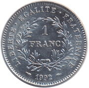 1 franc République (Nickel) -  revers