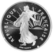 5 francs semeuse (D'AP.O.ROTY argent - BE) -  avers