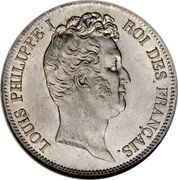 5 francs type Tiolier Louis-Philippe I, tranche en relief -  avers
