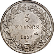 5 francs type Tiolier Louis-Philippe I, tranche en relief -  revers