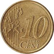 10 cents d'euro (1ère carte, cannelures larges) -  revers