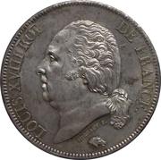 5 francs Louis XVIII (buste nu) -  avers