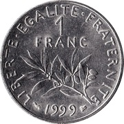 1 franc Semeuse (O.Roty, tranche striée, nickel ) -  revers