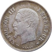 20 centimes Napoléon III (petite tête nue) -  avers