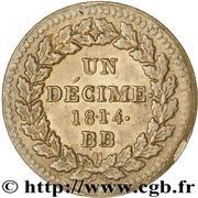 1 décime Louis XVIII (au L couronné, lourde) -  revers