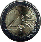 2 euros Ruban rose (non colorée) -  revers