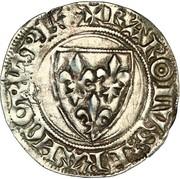 """Blanc dit """"Guénar"""" - Charles VI dit """"le fou"""" (1380-1422) -  avers"""