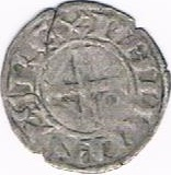 "Denier tournois (1er type) - Philippe II dit ""Philippe Auguste"" – avers"