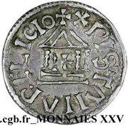 """Denier """"au temple"""" ou """"à la légende chrétienne"""" - Louis Ier """"le Pieux"""" (sans H en début de légende) – revers"""