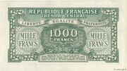 1000 francs Marianne (type 1945, chiffres maigres) – revers