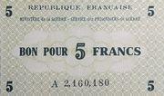 5 francs (service des prisonniers de guerre) – avers