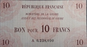 10 francs (service des prisonniers de guerre) – avers