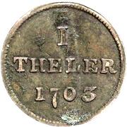 1 Theler (Judenpfennig) – revers