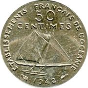 50 centimes (essai, sans listel) – revers