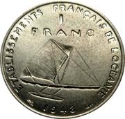 1 franc (Essai, avec listel) – revers