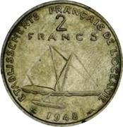 2 francs (Essai, avec listel) – revers