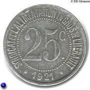 25 Centimes Syndicat de l'alimentation en Gros de l'Hérault [34] -  avers