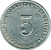 5 Centimes - Union des Commerçants de Thiviers [24] – avers
