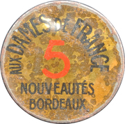 5 centimes - Aux dames de France - Bordeaux – avers