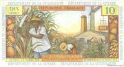 10 francs Antilles Françaises – revers
