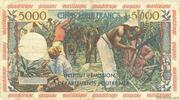 50 nouveaux francs sur 5000 Francs Antillaise – revers
