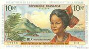 10 nouveaux francs Antilles Françaises – avers