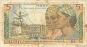5 francs Pointe à Pitre – avers