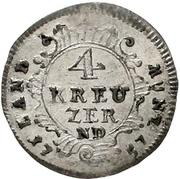 4 Kreuzer - Adalbert von Walderdorf – revers