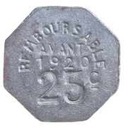 25 centimes - Union Fumeloise - Fumel [47] – revers