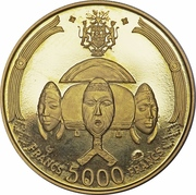 5000 francs (Bongo) – revers