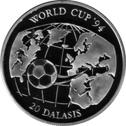 20 dalasis (Coupe du monde de football USA 1994) – revers