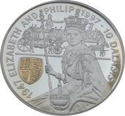 10 dalasis (Noces d'or de la reine Elizabeth II et du duc d'Edimbourg ) -  revers