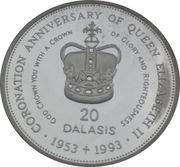 20 dalasis (40 ème anniversaire du couronnement de la Reine Elizabeth II ) – revers