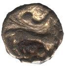 ¼ de statère d'or aux segments de cercles, cheval à droite – revers