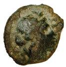 Hémiobole au taureau (Massalia, tête à droite au Κ sous le menton, ΜΑΣΣΑ ΞΤΘ au taureau chargeant à droite) – avers