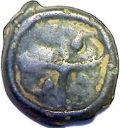 Potin au swastika et à la tête à droite (Bituriges Cubi) – revers