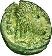 Bronze au cheval et à la tête aux cheveux calamistrés (Ambiani) – avers