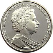 2 pounds - Elizabeth II (4eme effigie; Anniversaire de Grytviken) – avers