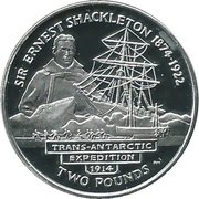 2 Pounds - Elizabeth II Sir Ernest Shackleton (Proof) – revers
