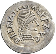 ¼ siliqua Au nom d'Anastasius I, 491-518 & Theoderic, 475-526 (Sirmium; S rétrograde avec buste incliné) – avers