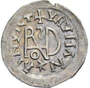 ¼ siliqua Au nom d'Anastasius I, 491-518 & Theoderic, 475-526 (Sirmium; S rétrograde avec buste incliné) – revers